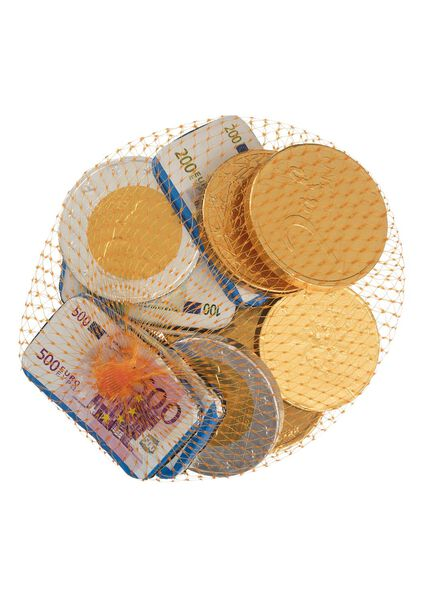 milk chocolate coins in a small net - 125 grams - 10040198 - hema