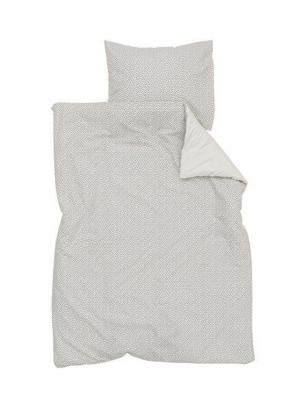 housse de couette enfant-coton doux-120x150cm-blanc noir pois - 5750097 - HEMA