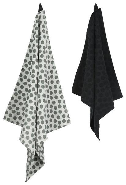 torchon 65 x 65 cm theedoek noir/blanc - 5440226 - HEMA
