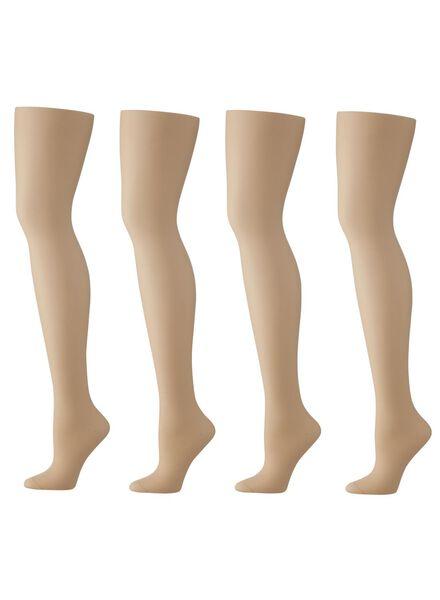 Strumpfhosen für Frauen - HEMA 4er Pack Strumpfhosen, Glänzend, 20 Denier Puder  - Onlineshop HEMA