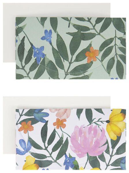 enveloppen met kaart 10x18 bloemen 2 stuks - 14700466 - HEMA