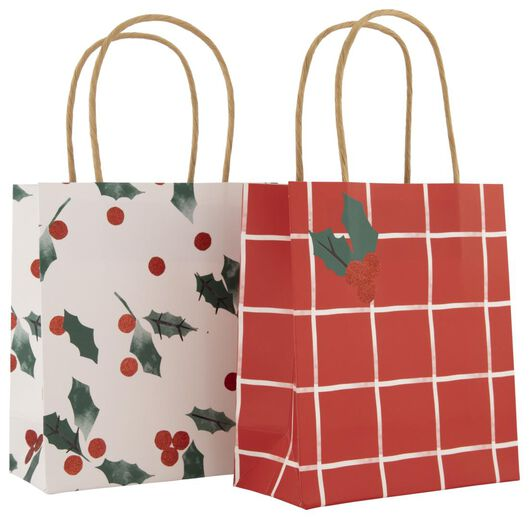 2 gift bags paper S 17x15x7 holly - 25700137 - hema