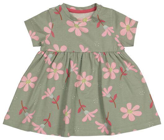 Babykleiderroecke - HEMA Baby Kleid, Blumen Grün - Onlineshop HEMA