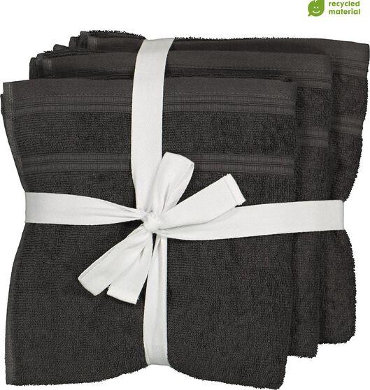 4 towels - 50 x 100 cm - cotton with rPET - dark grey - 5230002 - hema