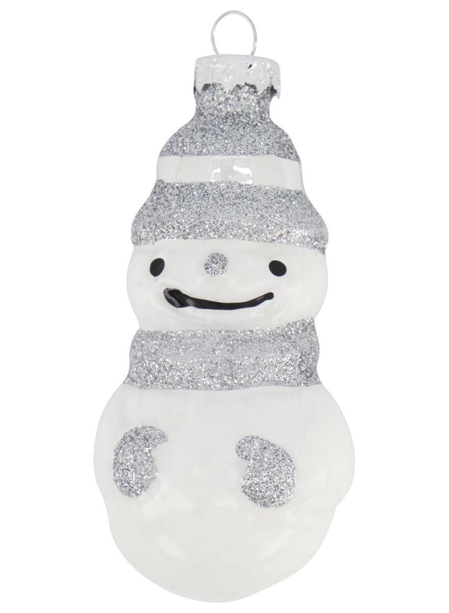 décoration de Noël en verre - bonhomme de neige - 4x4x8.5 - 25104817 - HEMA