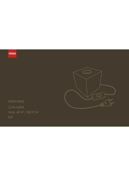 lampe de table - 1.5 m - noir - 20020090 - HEMA