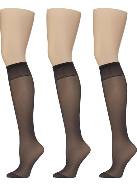 3-pack slightly shiny knee-high socks 20 denier black one size - 4022531 - hema