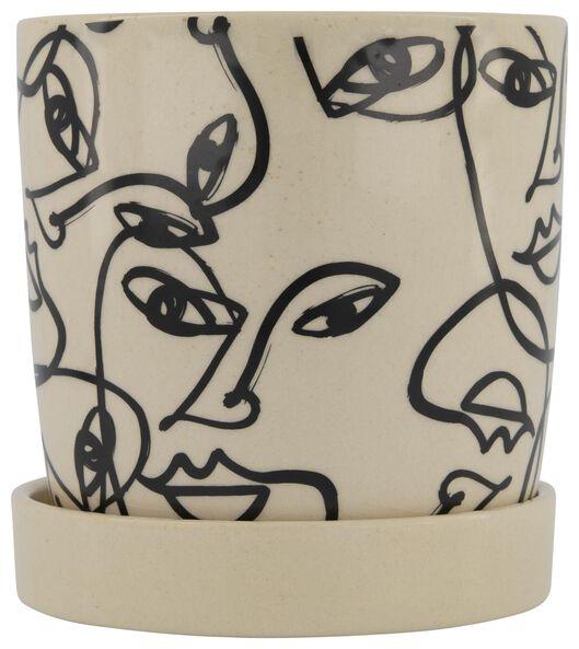 HEMA Blumentopf, Ø 13 X 13 Cm, Keramik, Schwarz-weiß