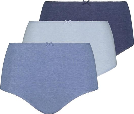 3-pack high waist women's briefs blue blue - 1000018558 - hema