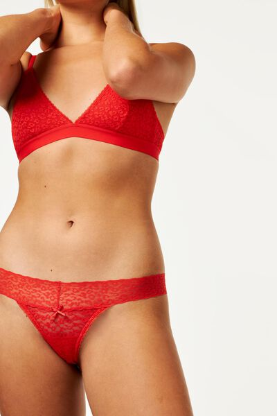 B.A.E. women's thong lace red red - 1000020418 - hema