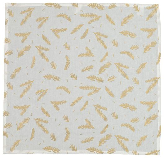 tea cloth 65x65 cotton - white with gold-coloured twig - 5410101 - hema
