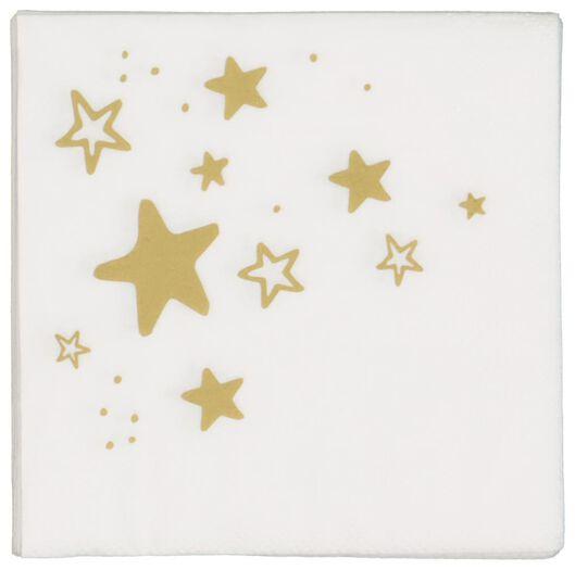 20 serviettes 24x24 papier - étoiles doré - 25600155 - HEMA