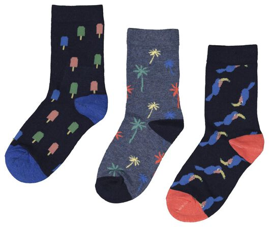 3er-Pack Kinder-Socken dunkelblau dunkelblau - 1000018458 - HEMA