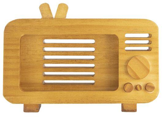 Smartphone-Halter, Retro-Fernseher, Holz, 11.5 x 16.5 x 5.5 cm. - 60350010 - HEMA