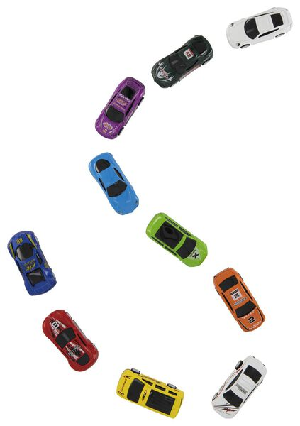 10 voitures de course en métal - 15190080 - HEMA
