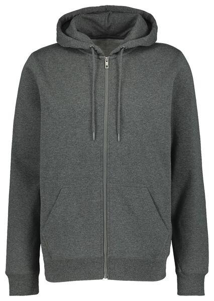 men's cardigan with a hood grey melange grey melange - 1000020165 - hema