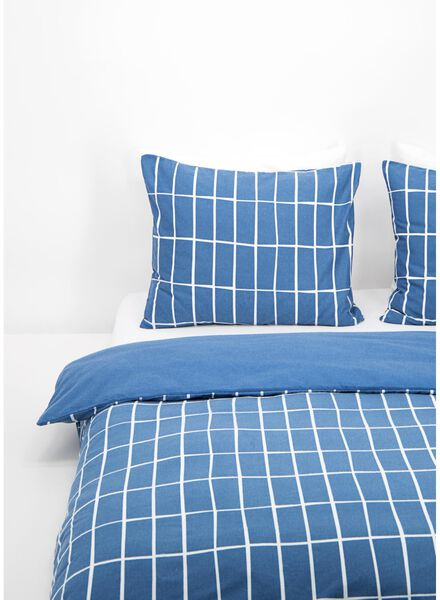 duvet cover - flannel - chequered blue - 1000016603 - hema