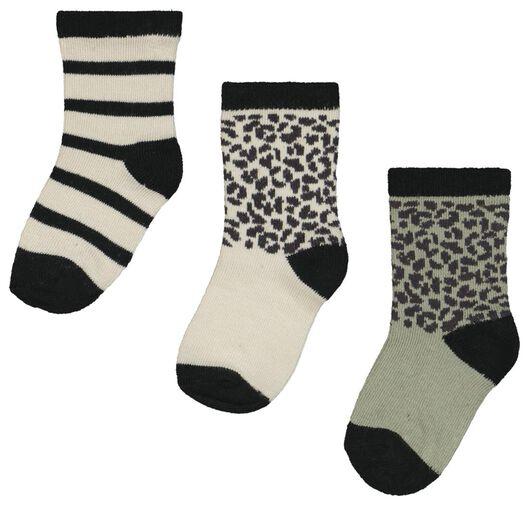 Babyaccessoires - HEMA 3er Pack Baby Socken Mit Bambus, Punkte Streifen Grün - Onlineshop HEMA