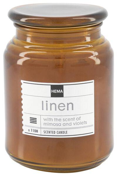 bougie parfumée dans un pot en verre Ø10x14 lin - 13502521 - HEMA