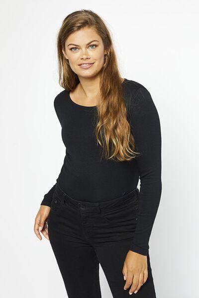 Damen-Shirt, U-Boot-Ausschnitt schwarz schwarz - 1000021160 - HEMA