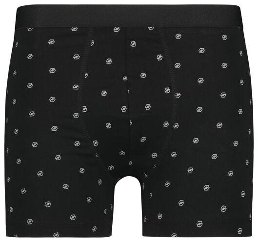 herenboxers lang - katoen/stretch 3 stuks zwart zwart - 1000022829 - HEMA
