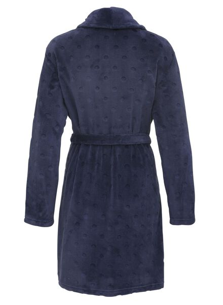 women's bathrobe fleece dark blue dark blue - 1000011784 - hema