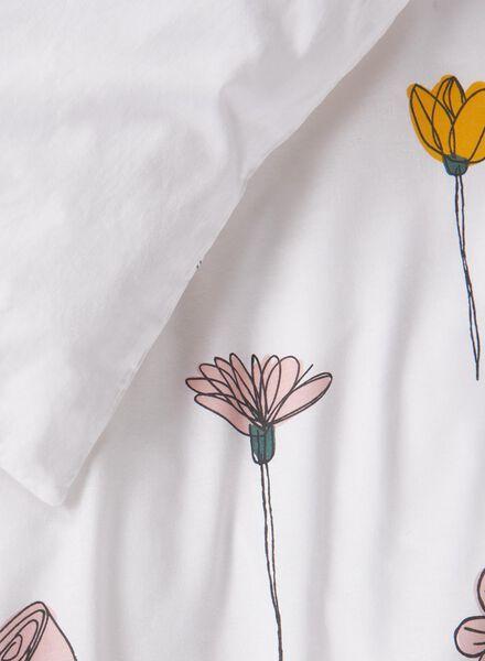 housse de couette-coton doux-200x200/220cm-blanc fleurs blanc 200 x 220 - 5700174 - HEMA