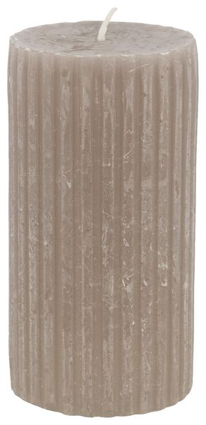 rustic candle with relief - 7x13 - taupe - 13502604 - hema