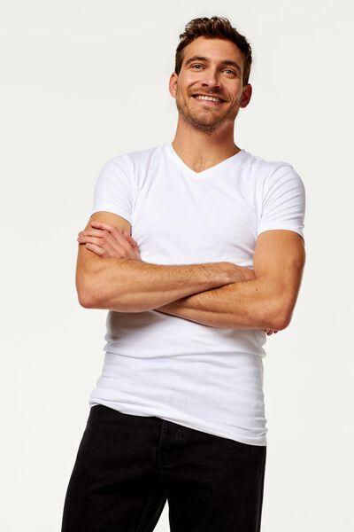 t-shirt homme col en V - extra long - avec bambou blanc blanc - 1000016220 - HEMA