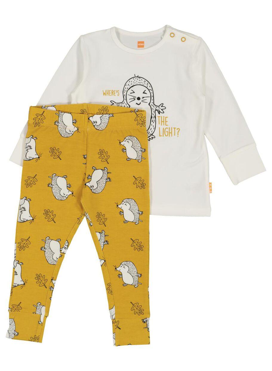 Hema Bamboe Jas.Baby Pyjama Met Bamboe Geel Hema
