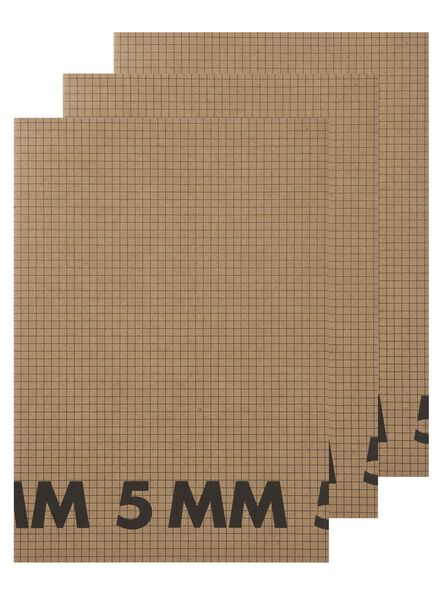 3 cahiers A4 à carreaux 5 mm - 14540669 - HEMA