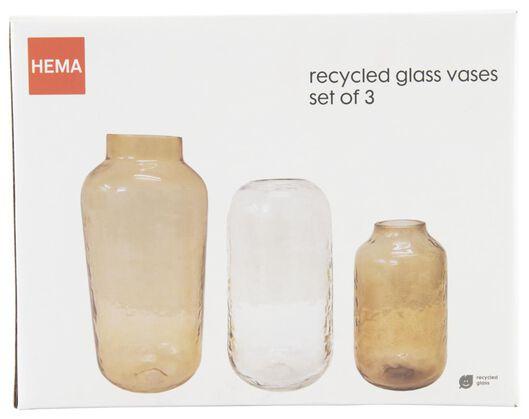3 vases - verre recyclé - terracotta - 13322004 - HEMA