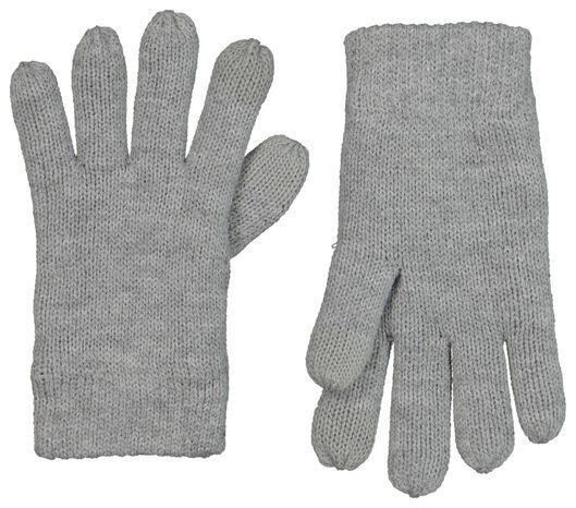 HEMA Kinderhandschoenen Met Touchscreen Gebreid Grijsmelange (grijsmelange)