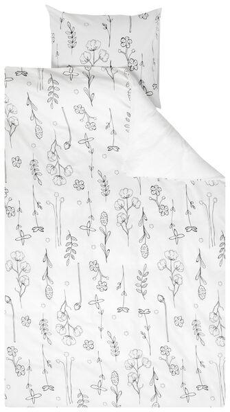 HEMA Bettwäsche, Recycelte Baumwolle, Blumen Weiß