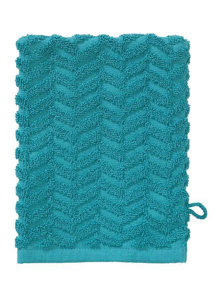 gant de toilette - qualité épaisse - vert foncé zigzag - 5200071 - HEMA