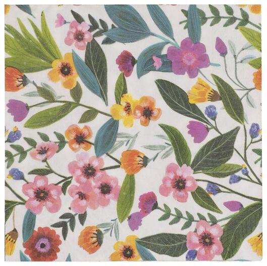 20er-Pack Servietten, 33 x 33 cm, Papier, Blumenmuster - 25800130 - HEMA