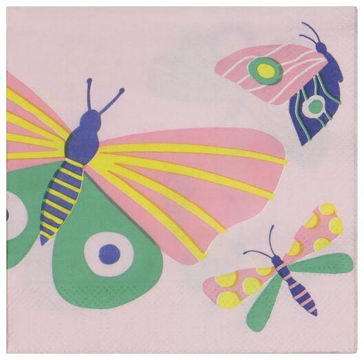 20er-Pack Servietten, 24 x 24 cm, Papier, Schmetterlinge - 14200405 - HEMA