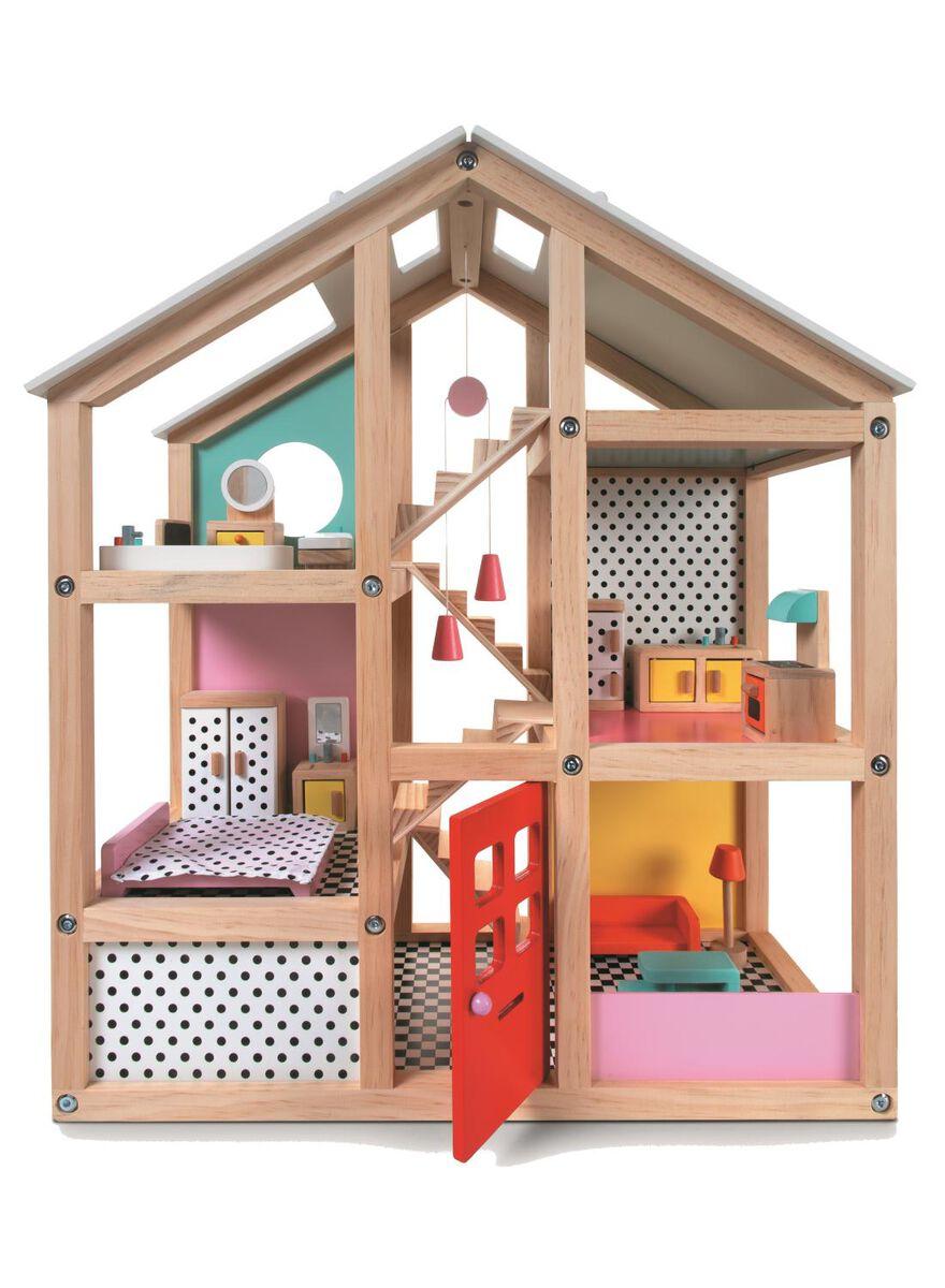 maison de poupée meublée en bois 52,5 x 24 x 61cm - 15122414 - HEMA