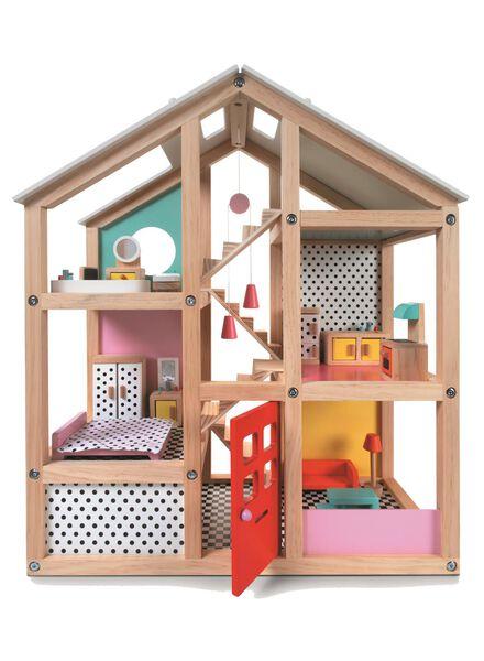 möbliertes Holzpuppenhaus, 52.5 x 24 x 61 cm - 15122414 - HEMA