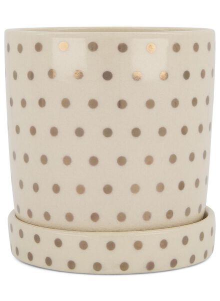 cache-pot Ø 12.5 cm - céramique - blanc/doré - 13392088 - HEMA