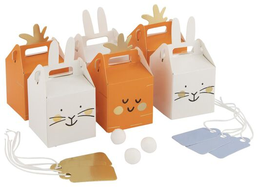 6 boîtes cadeau 5x5x5 - lapin/carotte - 25810131 - HEMA