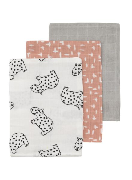 3-pack face cloths muslin - 33389615 - hema