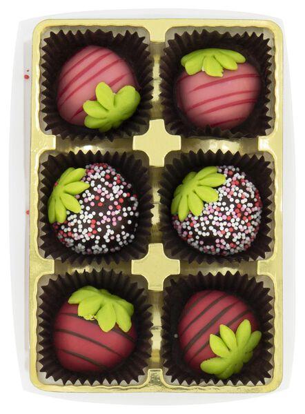 6 fraises en pâte d'amande au chocolat - 10050062 - HEMA