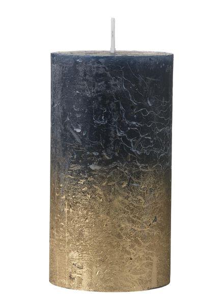 rustic candle - 13 x 7 cm - gold blue blue 7 x 13 - 13501886 - hema