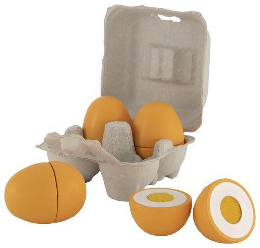 eieren hout - 4 stuks - 15130057 - HEMA