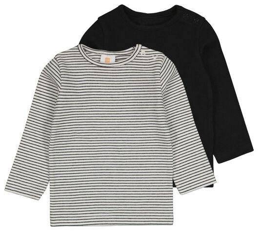 HEMA 2er-Pack Baby-Shirts, Gerippt Schwarz