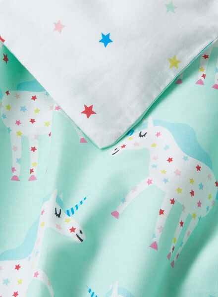 duvet cover - soft cotton - 140 x 200 cm - blue unicorn - 5750103 - hema