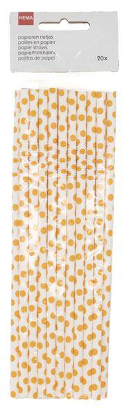 20 pailles en papier flexibles orange - 14200524 - HEMA