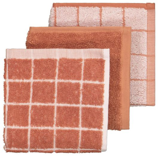 3 dishcloths 30x30 cotton terracotta - 5410131 - hema