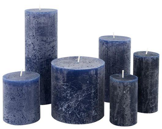 bougie rustique 10x10 cm bleu foncé bleu foncé - 1000015383 - HEMA